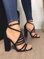 Black Round Toe Chunky Casual High-Heeled Sandals