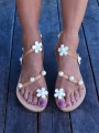 White Round Toe Pearl Flower Fashion Ankle Sandals