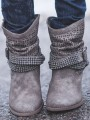 Grey Round Toe Rhinestone Chunky Ankle Boots