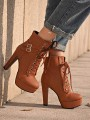 Brown Round Toe Lace-up Fashion High-Heeled Boots