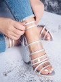 Silver Round Toe Chunky Buckle Fashion High-Heeled Sandals