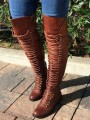 Brown Round Toe Chunky Over-The-Knee Fashion Low-Heeled Boots