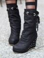 Black Round Toe Rivet Wedges Fashion Mid-Calf Boots