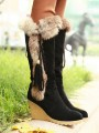 Black Round Toe Wedges Faux Fur Patchwork Tassel Fashion Mid-Calf Boots
