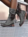 Grey Round Toe Chunky Rivet Cross Strap Fashion Ankle Boots