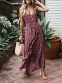 Wine Red Floral Ruffle Condole Belt V-neck Bohemian Maxi Dress