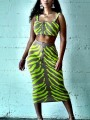 Green Leopard Print Spaghetti Strap Zipper Bodycon Party Maxi Dress