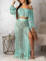 Green Off Shoulder Tassel Cut Out Two Piece Side Slits Sheer Beachwear Party Maxi Dress