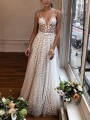 White Patchwork Lace Grenadine Pleated V-neck Prom Evening Party Maxi Dress