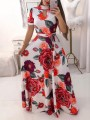 Red White Floral Print Sashes Cut Out Big Swing High Neck Short Sleeve Bohemian Maxi Dress