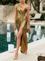 Golden Asymmetric Shoulder Pleated Thigh High Side Slits Prom Evening Party Maxi Dress