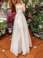 White Patchwork Grenadine Lace Spaghetti Strap Backless Banquet Wedding Prom Party Maxi Dress