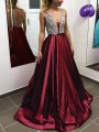 Burgundy Patchwork Sequin Pleated V-neck Sparkly Glitter Birthday Prom Evening Party Maxi Dress