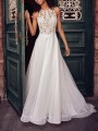 White Patchwork Lace Grenadine Bodycon Halter Neck Wedding Gowns Party Maxi Dress