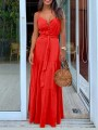 Red Buttons Pleated Belt Spaghetti Strap Bohemian Beach Maxi Dress