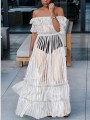 White Grenadine Draped Ruffle Off Shoulder Backless Sheer Formal Party Maxi Dress