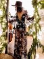 Black Star Sequin Grenadine Deep V-neck Sheer Side Slit Banquet Elegant Party Maxi Dress