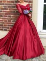 Red Patchwork Lace Off Shoulder Backless Mermaid Wedding Banquet Party Maxi Dress