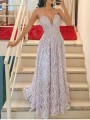 Light Purple Patchwork Lace Spaghetti Strap Pleated V-neck Prom Evening Party Maxi Dress