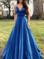 Blue Pleated Spaghetti Strap V-neck Sleeveless Elegant Banquet Maxi Dress