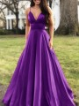 Purple Pleated Spaghetti Strap V-neck Sleeveless Elegant Banquet Maxi Dress