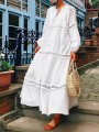 White Patchwork Lace Drawstring Band Collar Long Sleeve Bohemian Maxi Dresses