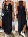 Black Patchwork Lace Spaghetti Strap V-neck Sleeveless Slit Maxi Dress