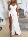 White Spaghetti Strap V-neck Slit Elegant Cocktail Party Maxi Dress