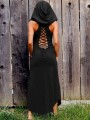 Black Cut Out Drawstring Lace-up Backless Hooded Round Neck Sleeveless Gothic Retro Maxi Dress