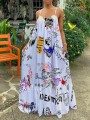 White Graffiti Print Shoulder-Strap Pockets Square Neck Sleeveless Big Swing Flowy Maxi Dress