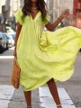 Yellow V-neck Short Sleeve Big Swing Flowy Going out Midi Dress