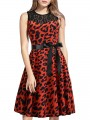 Red Leopard Print Patchwork Lace Sashes Round Neck Sleeveless Fashion Midi Dress