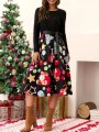 Black Christmas Floral Sashes Bow Long Sleeve Fashion Midi Dress