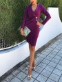 Purple Buttons Tailored Collar V-neck Long Sleeve Work Casual Midi Dress