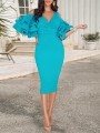 Blue Zipper V-neck Layers Of Ruffle Sleeve Slit Bodycon Work Midi Dress