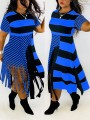 Blue-Black Striped Patchwork Tassel Round Neck Short Sleeve Big Swing Casual Midi Dress