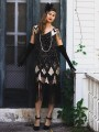 Black-Golden Patchwork Sequin Tassel Great Gatsby Flapper Sparkly Banquet Party Midi Dress