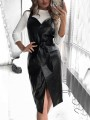 Black Bow V-neck Sleeveless Slit Leather Fashion Midi Dress