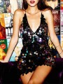 Black Patchwork Backless Sequin Deep V-neck Bodycon Glitter Sparkly Party Mini Dress