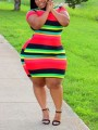 Red Rainbow Striped Bodycon Plus Size Round Neck Party Mini Dress