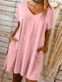 Pink Pockets Going out Comfy Fashion One Piece mini dress