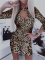 Brown Leopard Print Cut Out Bodycon Long Sleeve Party Maxi Dress