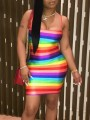 Rainbow Striped Shoulder-Strap Hip Bodycon Clubwear Beach Mini Dress