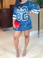 White-Blue Sequin Letter 62 Print Round Neck Elbow Sleeve Glitter Sparkly Party Jersey Mini Dress