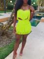 Neon Pink Patchwork Tassel Shoulder-Strap V-neck Crop Two Piece Hip Bodycon Clubwear Party Mini Dress
