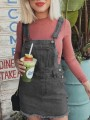 Grey Pockets Buttons Shoulder-Strap Fashion Jeans Overall Mini Dress