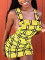 Yellow Plaid Print Pockets Zipper Shoulder-Strap Buttons Backless Bodycon Clubwear Hot Cute Overall Mini Dress