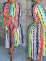 Pink Rainbow Striped Belt Pleated Homecoming Party Maxi Dress