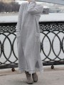 Light Grey Patchwork Lace Round Neck Long Sleeve Fashion Sweater Dress