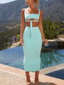 Light Blue Knot Crop Bodycon Club Pastel Fashion Two-Piece Dress
